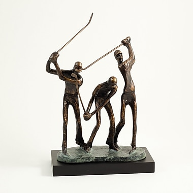 Bey-Berk Golfers in  Action Sculpture With Bronzed Finish on Patina Green and Black Wood Base