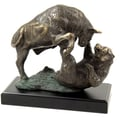 Bey-Berk Bull and  Bear Fight Sculpture With Bronzed Finish