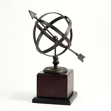Bey-Berk Sundial Sculpture  With Antique Copper Sphere, Wood Base