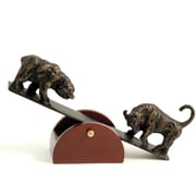 Bey-Berk See-Saw Metal  Bull and Bear Sculpture With Teak Wood Base