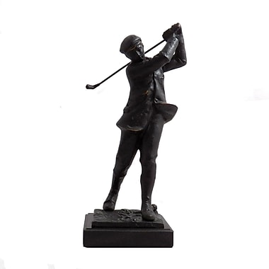Bey-Berk Bronzed Metal  Golfer, Marble Base, Large, 14in.