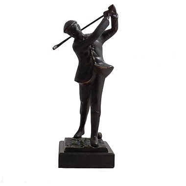 Bey-Berk Bronze Finish Metal Golfer, Marble Base, Medium, 12