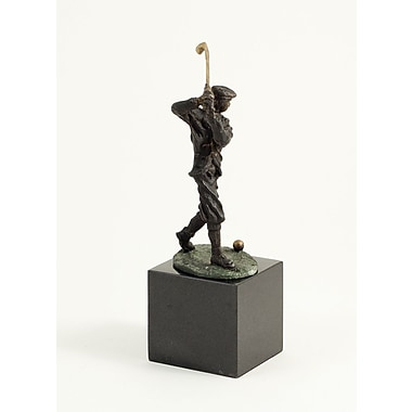 Bey-Berk Bronzed Golfer,  Marble Base, Medium, 9 1/2in.