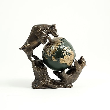 Bey-Berk Bronzed Finished Bull and Bear Fight Sculpture With Globe
