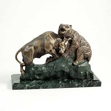 Bey-Berk Bull and  Bear Fight Sculpture With Bronzed Finish and Marble Base