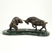 Bey-Berk Bronzed Finished  Charging Bull and Bear Sculpture, Marble Base