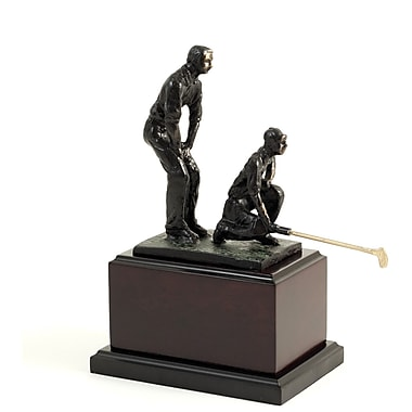 Bey-Berk Bronzed Double Golfer, Wood Base, Large, 10