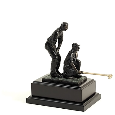 Bey-Berk Bronzed Double  Golfer, Wood Base, Small, 8 3/4in.