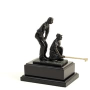 Bey-Berk Bronzed Double  Golfer, Wood Base, Small, 8 3/4""