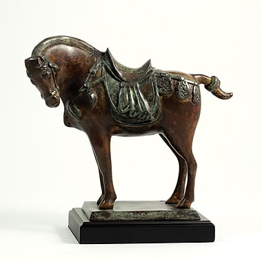 Bey-Berk Brass Tang  Horse Statue, Wood Base