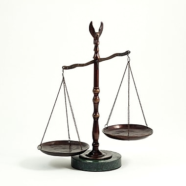 Bey-Berk 12 1/2in.  Scales of Justice Statue With Eagle Finial, Bronze Finished, Green Marble Base