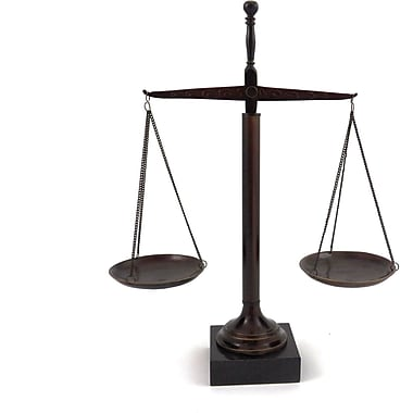 Bey-Berk 16in. Scales  of Justice, Bronzed Finished, Marble Base