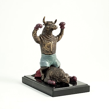 Bey-Berk Knock-Out Bull  Sculpture, Marble Base