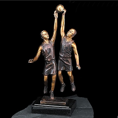 Bey-Berk Bronze Basketball  Players Sculpture, Marble Base