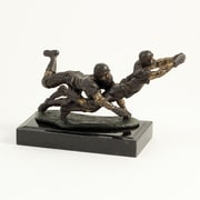 Bey-Berk Bronze Football  Players Sculpture, Marble Base
