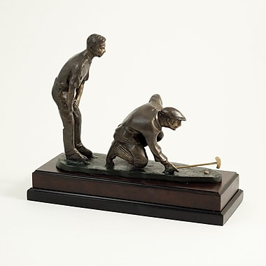 Bey-Berk Double Golfers  Sculpture With Bronzed Finish, Wood Base