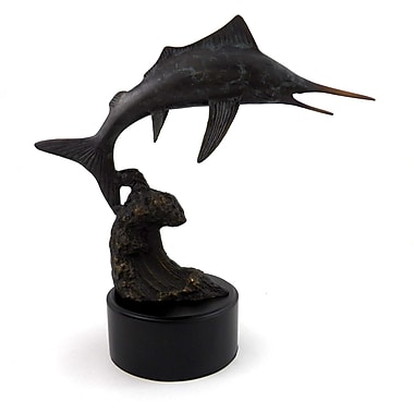 Bey-Berk Brass Marlin  Sculpture, Wood Base