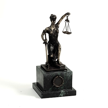 Bey-Berk Bronzed Finish  Kneeling Lady Justice Sculpture, Marble Base