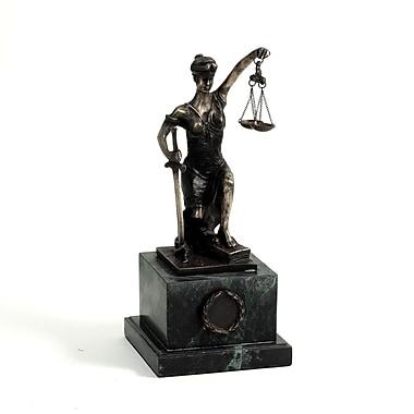 Bey-Berk Bronzed Finish  Kneeling Lady Justice Sculpture, Marble Base