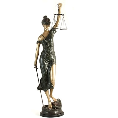 Bey-Berk 39in. Lady  Justice Sculpture, Bronzed Finish
