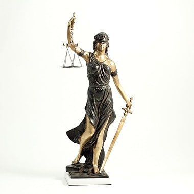 Bey-Berk 18 1/2in.  Lady Justice Sculpture With Bronzed Finish on White Marble Base