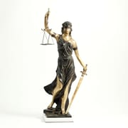 Bey-Berk 18 1/2  Lady Justice Sculpture With Bronzed Finish on White Marble Base