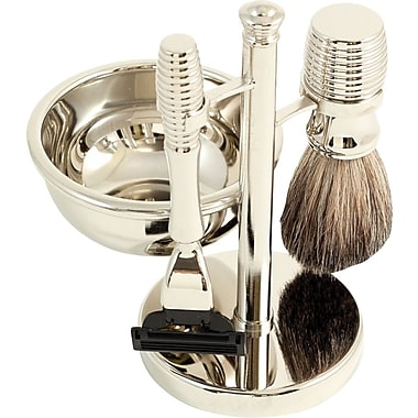 Bey-Berk Mach 3 Razor and Pure Badger Brush With Soap Dish on Chrome Stand