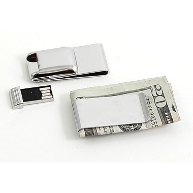 Bey-Berk Nickel Plated  Money Clip With 2 GB Flash Drive