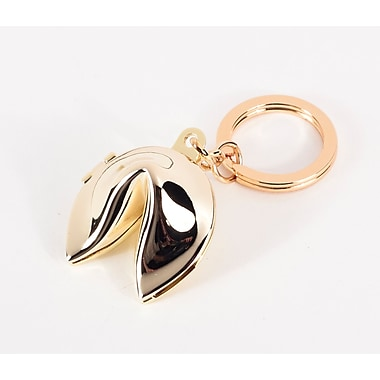 Bey-Berk Fortune Cookie  Box Key Ring, Gold Plated
