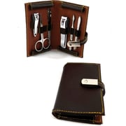 Bey-Berk 6 Piece  Leather Metal Frames Set, Brown