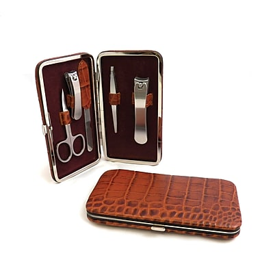 Bey-Berk BB200 5 Piece Leather Metal Manicure Set
