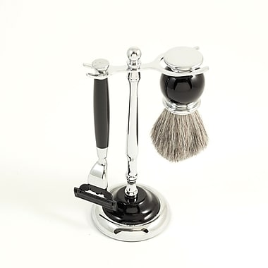 Bey-Berk Mach 3 Razor and Pure Badger Brush With Chrome Plated Black Enamel Finish