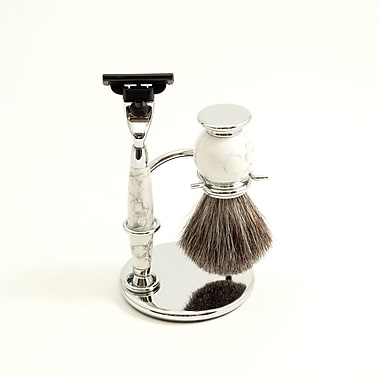 Bey-Berk Mach 3  Razor and Pure Badger Brush With White Chrome Stone Stand