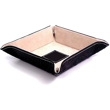 Bey-Berk Croco Leather  Snap Valet With Pig Skin Leather Lining, Black