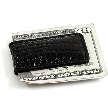Bey-Berk Croco Leather  Magnetic Money Clip, Black