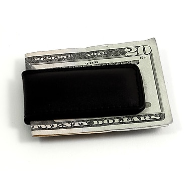 Bey-Berk Leather Magnetic  Money Clip, Black