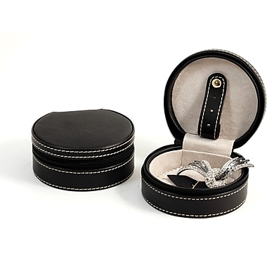 Bey-Berk Leather ZippeTravel  Jewelry Case, Black