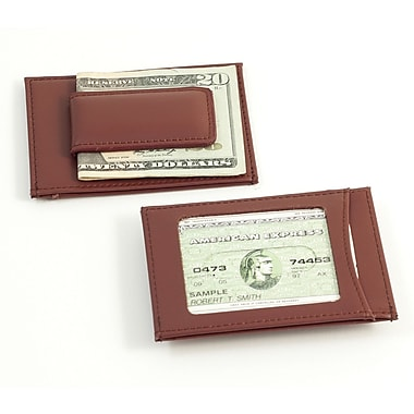 Bey-Berk Leather Magnetic  Money Clip and Wallet With ID Window, Brown
