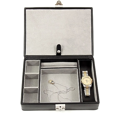 Bey-Berk Leather 4 Watch Case and Valet, Black