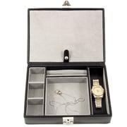 Bey-Berk Leather 4  Watch Case and Valet, Black