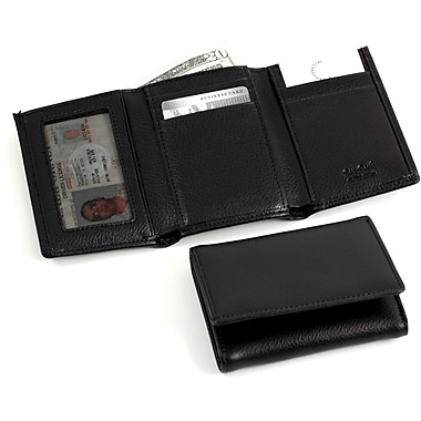 Bey-Berk Black Leather  Tri-Fold Wallet With ID Window