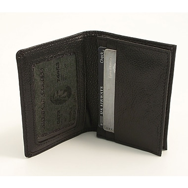 Bey-Berk Black Leather  Bi-Fold Wallet With ID Window