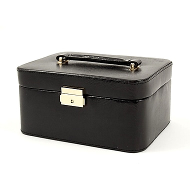 Bey-Berk Leather Lizard  Jewelry Box, Black
