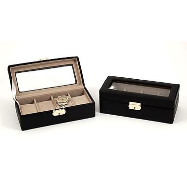 Bey-Berk Leather 4 Watch Case, Black
