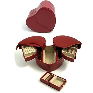 Bey-Berk Leather Lizard  Heart Shaped Jewelry Box, Red