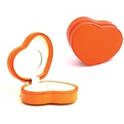 Bey-Berk Leather Lizard  Small Heart Shaped Jewelry Box, Orange