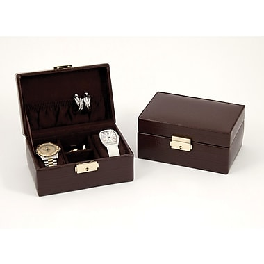 Bey-Berk Debossed Croco Leather 2 Watch/Cufflink and Accessories Box, Brown