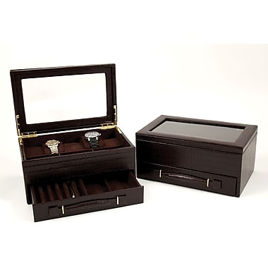 Bey-Berk Croco Leather  5 Watch Box, Brown
