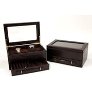 Bey-Berk Debossed Croco Leather 5 Watch and Pen Box, Brown