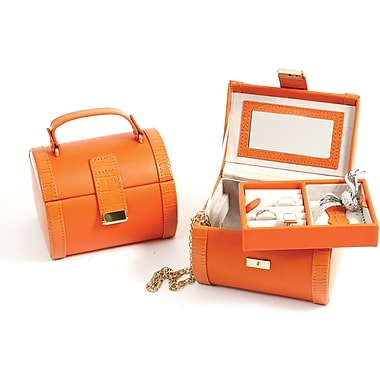 Bey-Berk Leather Jewelry  Case, Orange